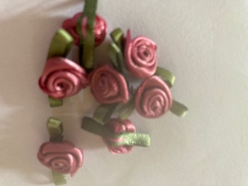 Dusky Pink Ribbon Roses -Small (pack of 8)