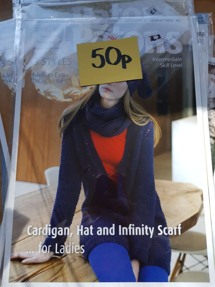 Ladies Knitting Pattern Cardigan , Hat, Scarf P3972