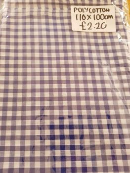Blue / White Check Polycotton Fabric 110 x 100cm