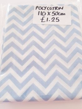 Pale Blue Chevron  Polycotton Fabric  110 x 50cm