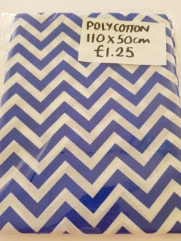 Royal Blue Chevron  Polycotton Fabric  110 x 50cm