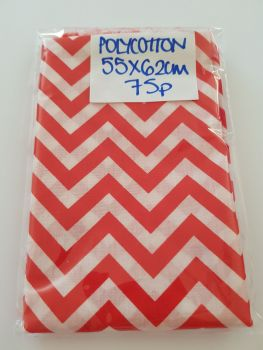 Red Chevron  Polycotton Fabric  55 x 62cm
