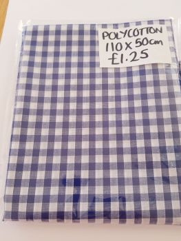 Blue / White Check Polycotton Fabric 110 x 50cm