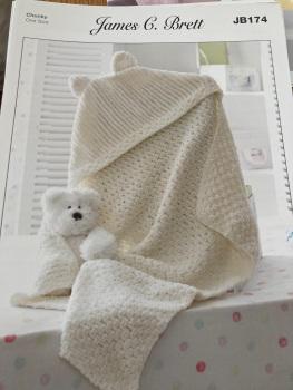 Childrens Knitting Pattern Hooded Blanket JB174