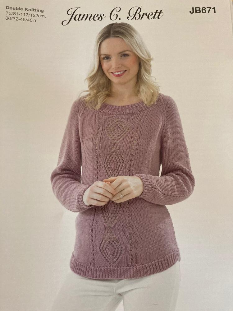 Ladies Knitting Pattern Jumper JB671