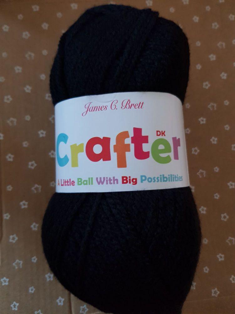 James C Brett Yarn / Wool Crafter DK 50g - Black CT14