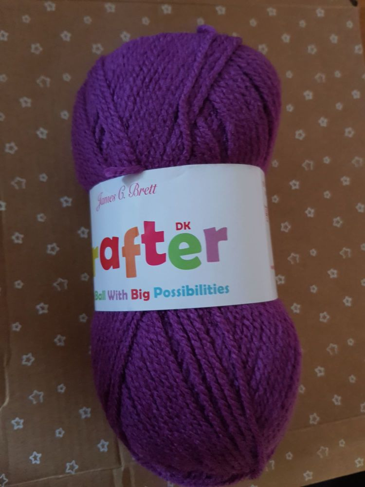 James C Brett Yarn / Wool Crafter DK 50g - Purple CT20