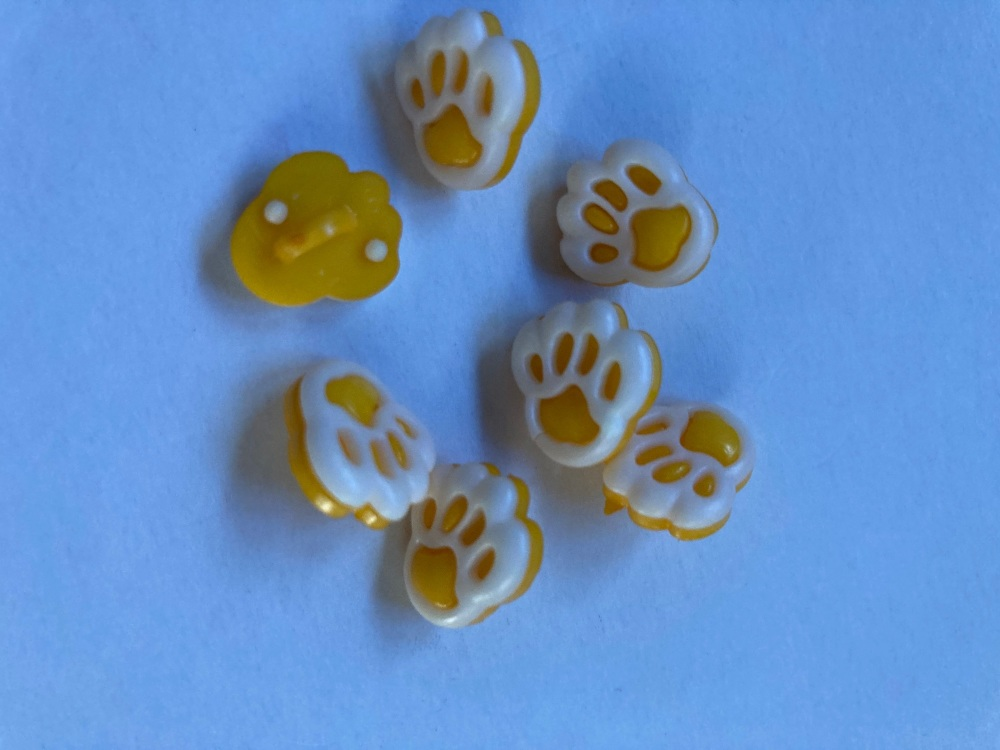 Yellow  (Dark) Paw Button 20mm (Pack of 8)
