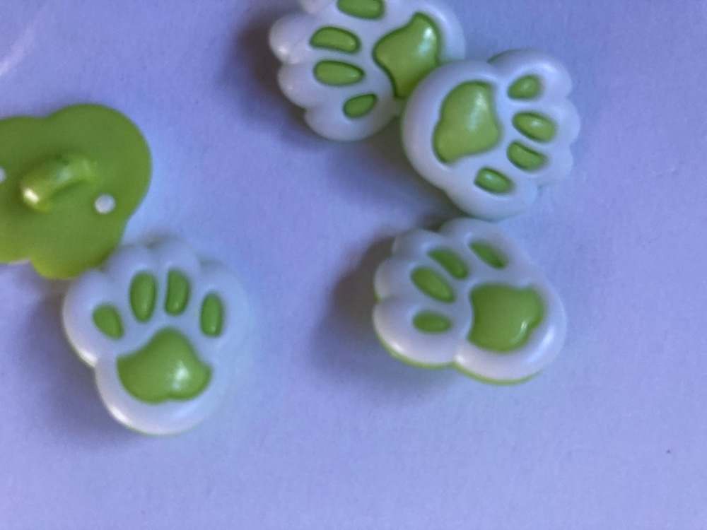 Green (Lime)  Paw Button 20mm (Pack of 8)