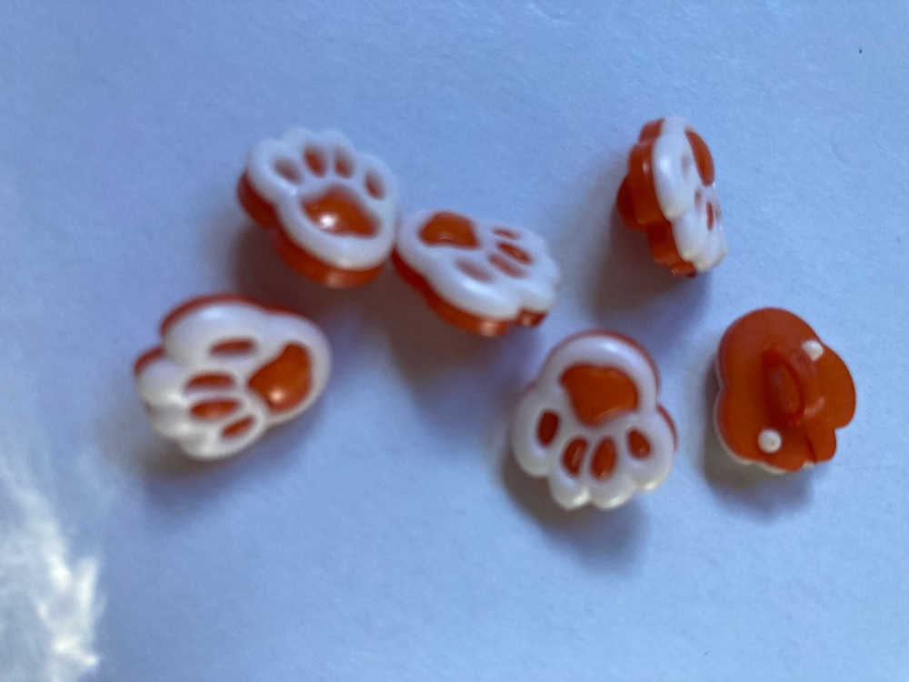 Orange Paw Button 20mm (Pack of 8)