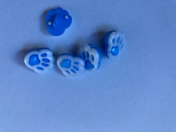 Blue Paw Button 13mm (Pack of 10)