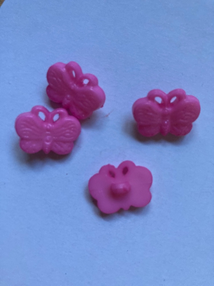 Pink Butterfly Button 18mm (pack of 10)