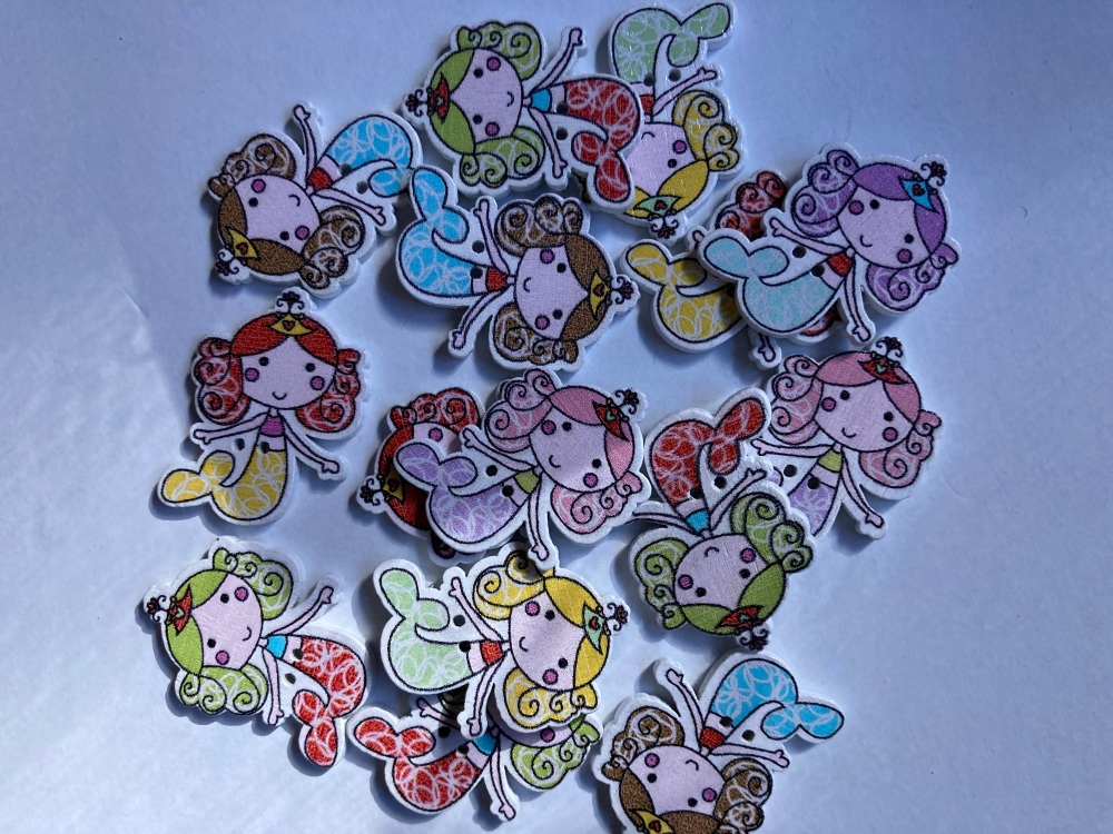 Mixed Mermaid Wooden Button 24x32mm (Random Pick-Pack of 12)