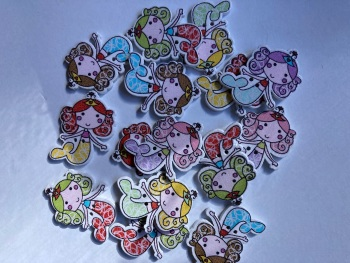 Mixed Mermaid Wooden Button 24x32mm (Random Mix Pack of  9)