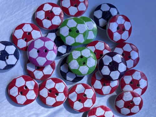 Mixed Football Wooden Button 20mm  (Random Pick-Pack of 12)
