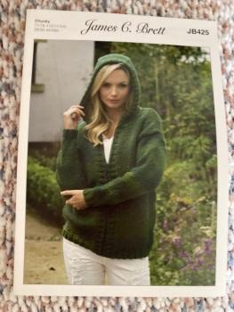 Ladies Knitting Pattern Chunky Hooded JacketJB425