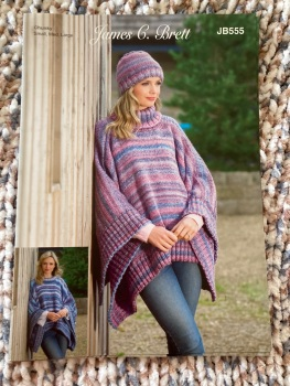 Ladies Knitting Pattern Poncho / Tabard , Hat JB555