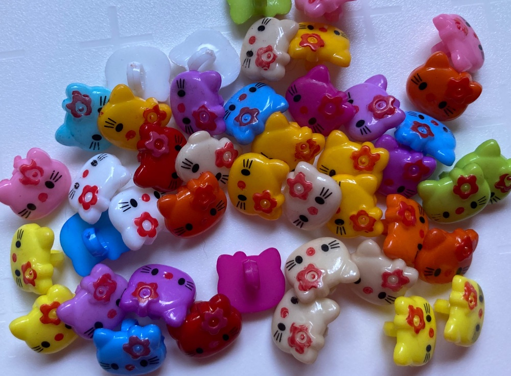 Kitty / Cat Buttons (Pack of 50) Random Mix FREE POSTAGE