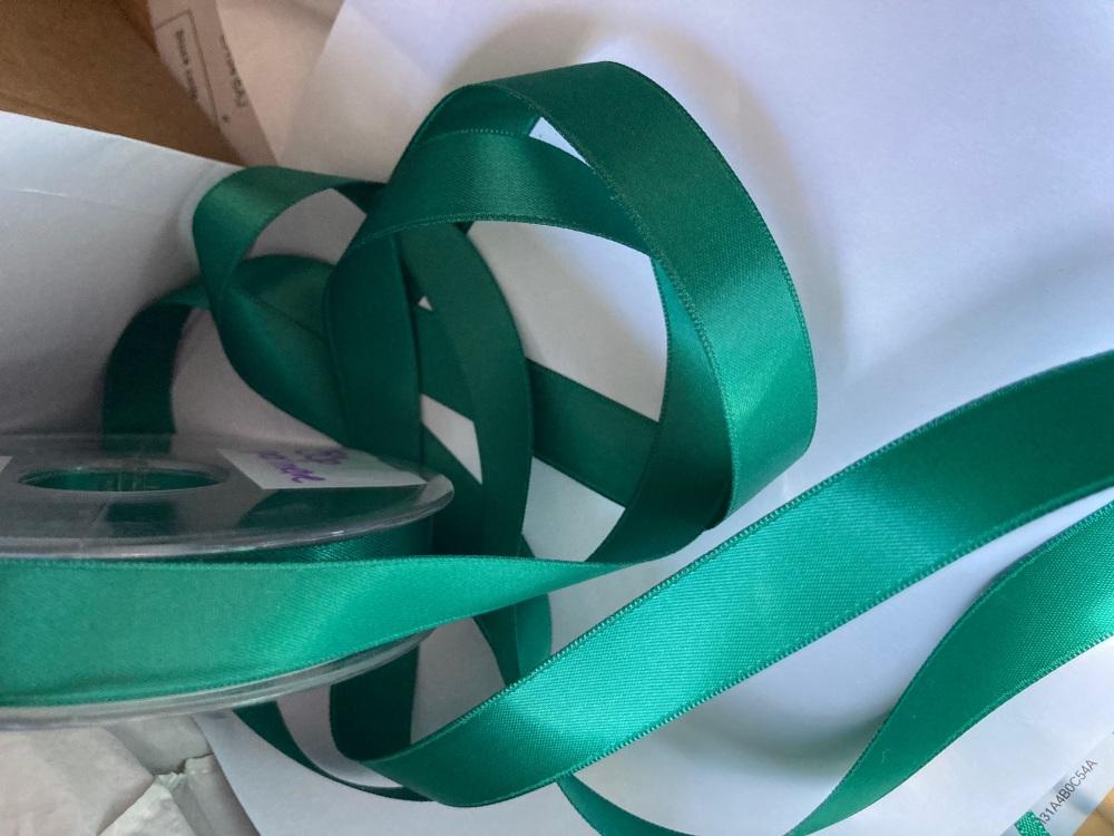 Green (Emerald )Double Satin Ribbon 10mm (per metre)