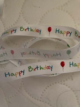 Birthday Ribbon 16mm (per metre) White