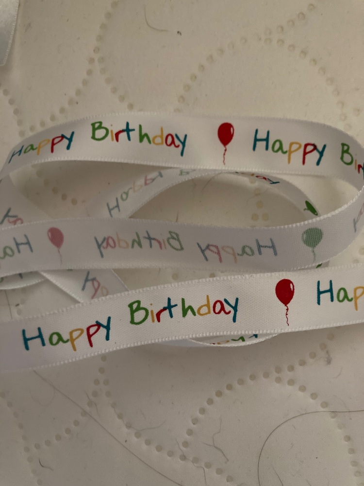 Birthday Ribbon 16mm (per metre) White