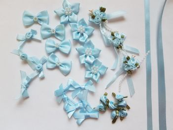 Embellishments/ Bow Pack  - Blue - FREE POSTAGE