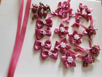 Embellishments/ Bow Pack  - Dusky Pink - FREE POSTAGE