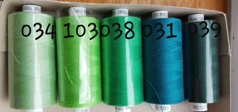 10 x  Colours of your Choice Moon Thread 1000 yards each
