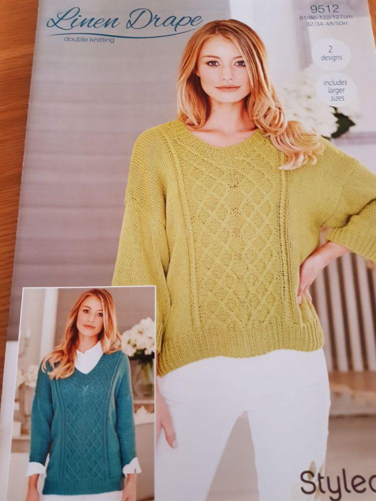 Ladies Knitting Pattern  Jumper Stylecraft 9512