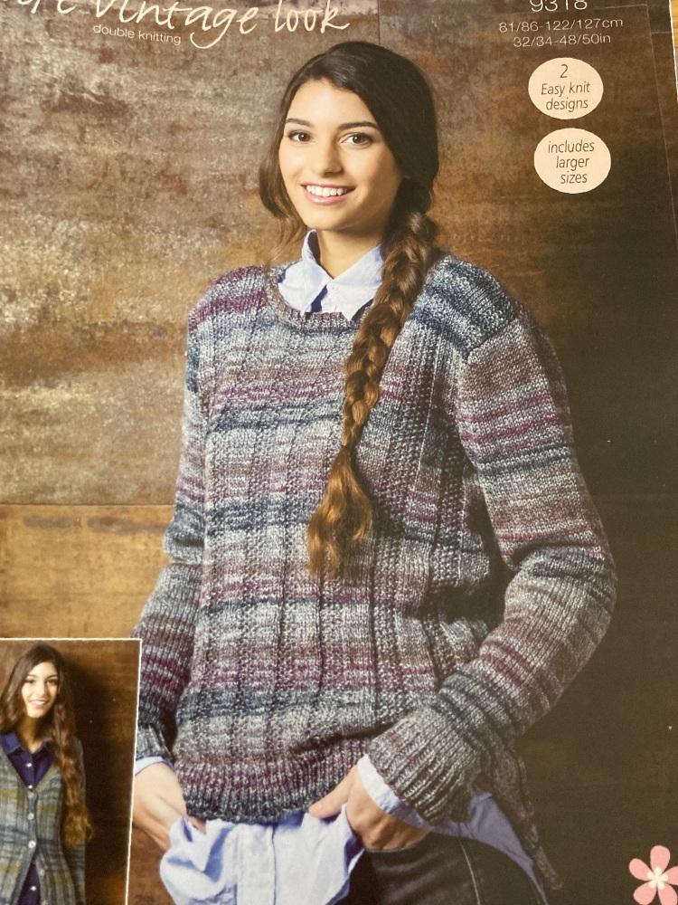 Ladies Knitting Pattern Cardigan , Jumper Stylecraft 9318