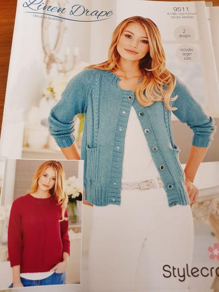 Ladies Knitting Pattern Cardigan , Jumper Stylecraft 9511