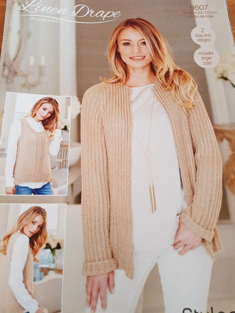 Ladies Knitting Pattern  Jacket, Vest Top  Stylecraft 95077