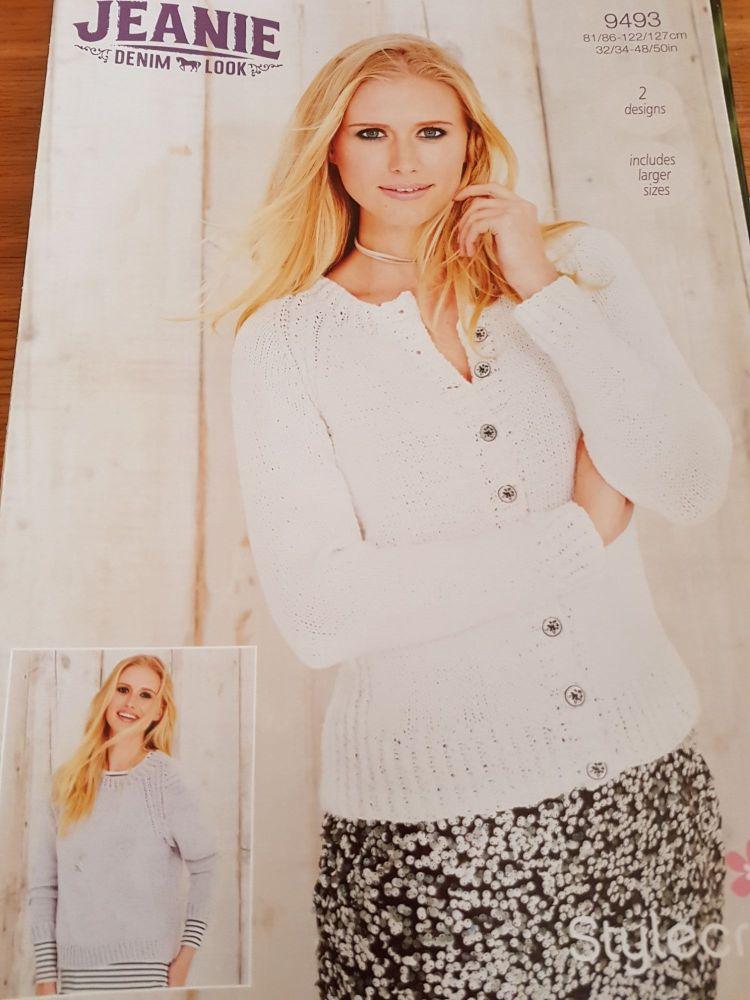 Ladies Knitting Pattern Cardigan , Jumper Stylecraft 9493