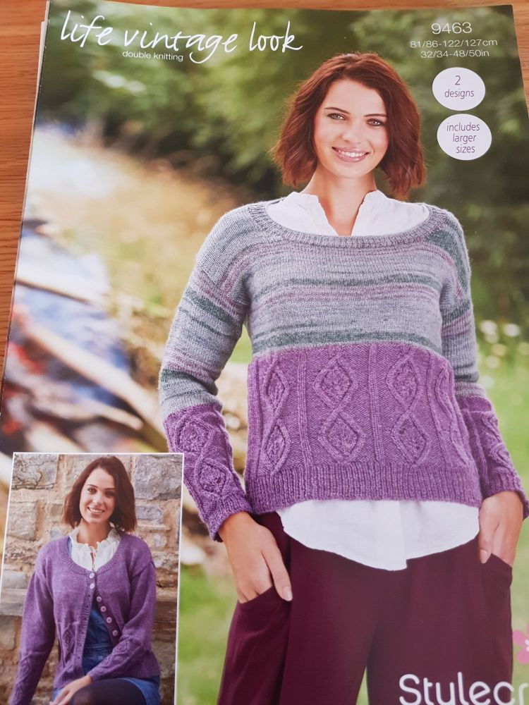 Ladies Knitting Pattern Cardigan , Jumper Stylecraft 9463