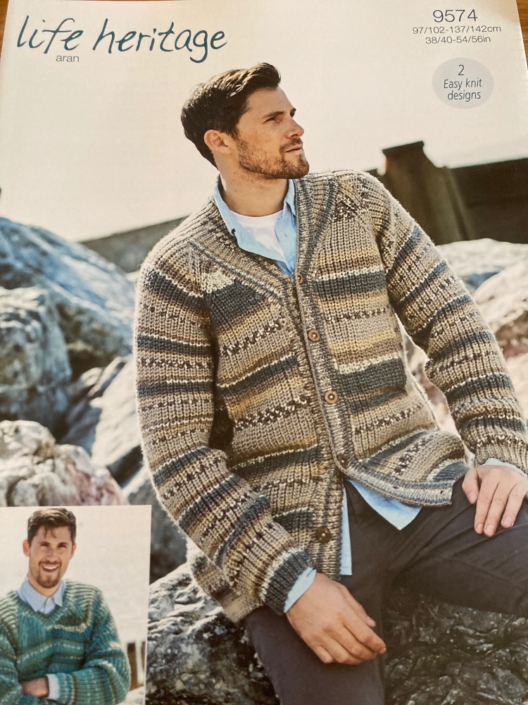 Gents  Knitting Pattern Jumper Cardigan Stylecraft 9574