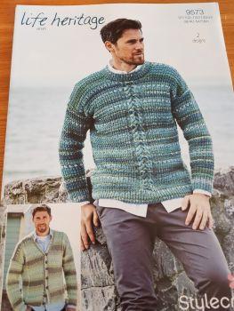 Gents  Knitting Pattern Jumper Cardigan Stylecraft 9573