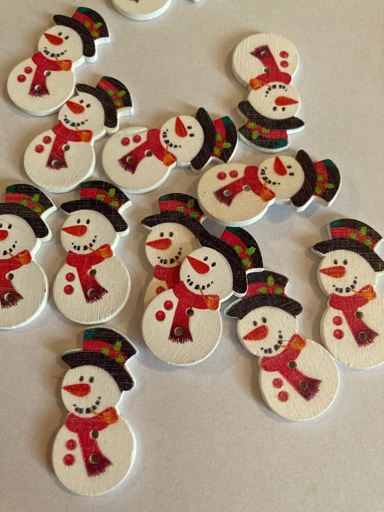 Snowman Wooden Buttons 36 x 18mm (Pack of 6)