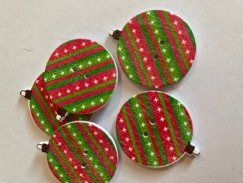 Bauble Wooden Buttons 30x 26mm (Pack of 6) - Star/Stripe