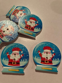 Globe Wooden Buttons 30x 29mm (Pack of 6) -  Santa