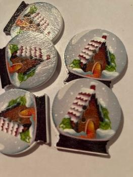 Globe Wooden Buttons 30x 29mm (Each) - House