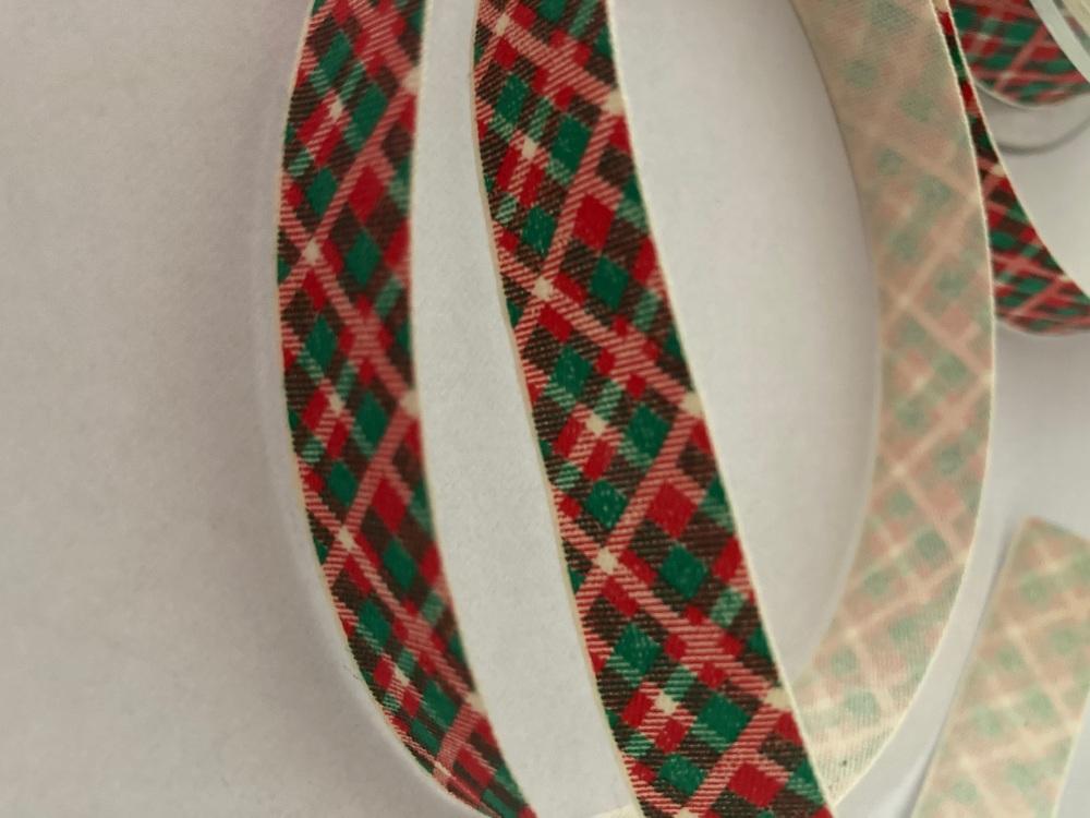 Red Green Check  / Cream  Ribbon 16mm (per metre)