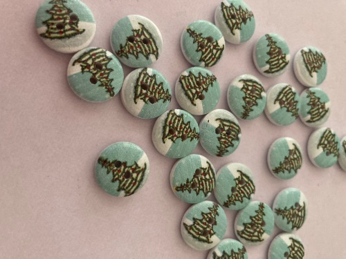 Tree Wooden Buttons 13mm (Pack of 12)