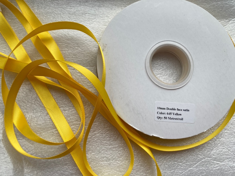 FULL ROLL Double Faced Satin 10mm / 50 metre roll - Yellow