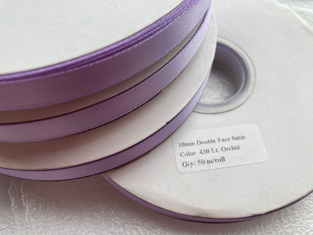 FULL ROLL Double Faced Satin 10mm / 50 metre roll - Orchid/Lilac
