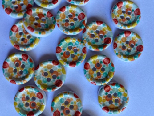 Orange, Yellow, Blue Wooden Buttons 15mm (Pack of 8) WD11