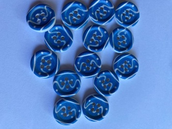 Blue and White Wooden Buttons 15mm (Pack of  8) WD12