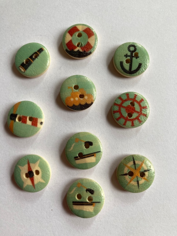 Nautical Wooden Buttons 15mm (Pack of  10)