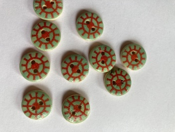 Nautical / Helm Wooden Buttons 15mm (Pack of  10)