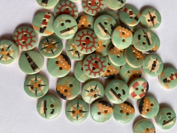 Nautical Mix Wooden Buttons 15mm (Pack of  10) Random Mix
