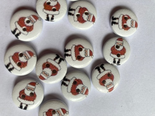 Santa Wooden Buttons 15mm (Pack of 12)